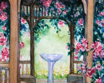 "Original Water Color Painting ""Gazebo with Pink Roses"" Framed and Ready to Hang"