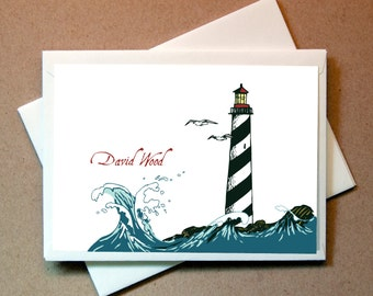 Lighthouse Personalized Note Card (15 cards and envelopes)