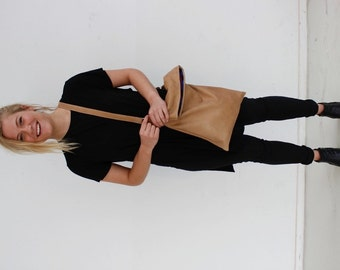 Eco leather bag, leather cross body bag, sustainable handmade leather bag, simplicity