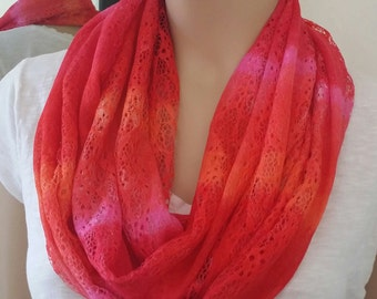 Multi color lace infinity scarf, spring/summer time colors, for women, very light weight // Lace Infinity Scarf // Lace Pattern //