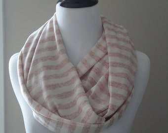 Cream and Red Stripped Infinity Scarf
