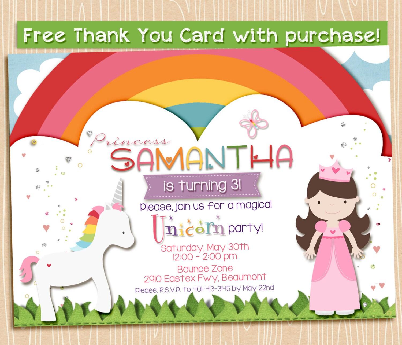 magical rainbow unicorn and princess party invitation printable