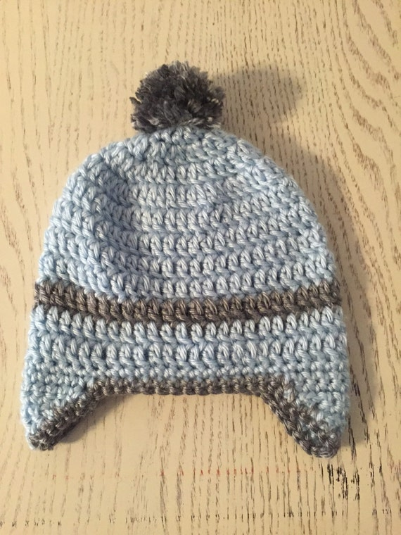Book Cover Crochet Hat ~ Baby boy crochet beanie with ear covers and pom blue gray