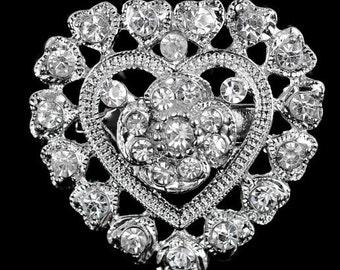 Small Rihestone Brooch, Wedding Pin, Wedding Brooch, Rihestone brooch, Beautiful Brooch,  Brooch, Unique Brooch, Metal, Heart Brooch