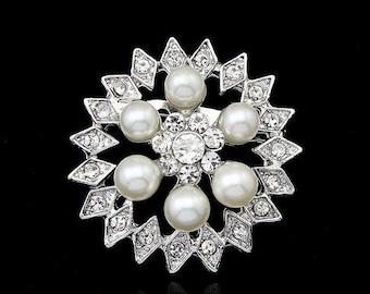 Big Pearl Brooch,Star Brooch, Wedding Pin, Wedding Brooch, Rihestone brooch, Beautiful Brooch,  Brooch, Unique Brooch, Metal and Pearl,