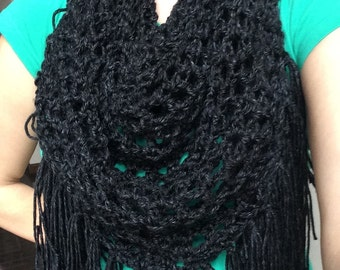 Crochet triangle scarf with fringe, crochet spring scarf, light weight scarf with fringe