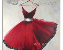 Red dress oil painting on canvas,banquet dress large oil painting,original still life painting,wall decor,art,hand painted by Ape Art Studio