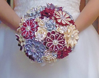 Bridal bouquet, handmade,color ivory / burgundy / silver