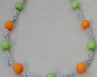 Necklace,Beaded Chainmaille, Green and Orange Beads, Classic Byzantine Weave