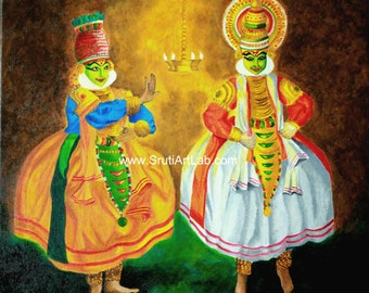 Kathakali - The Divine Intervention - Reprints of Original Acrylic on Canvas Painting