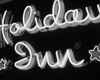 Holiday Inn - Free US Shipping - Fine Art Print, Black & White Picture, Photography, Detroit, Michigan, Vintage Sign