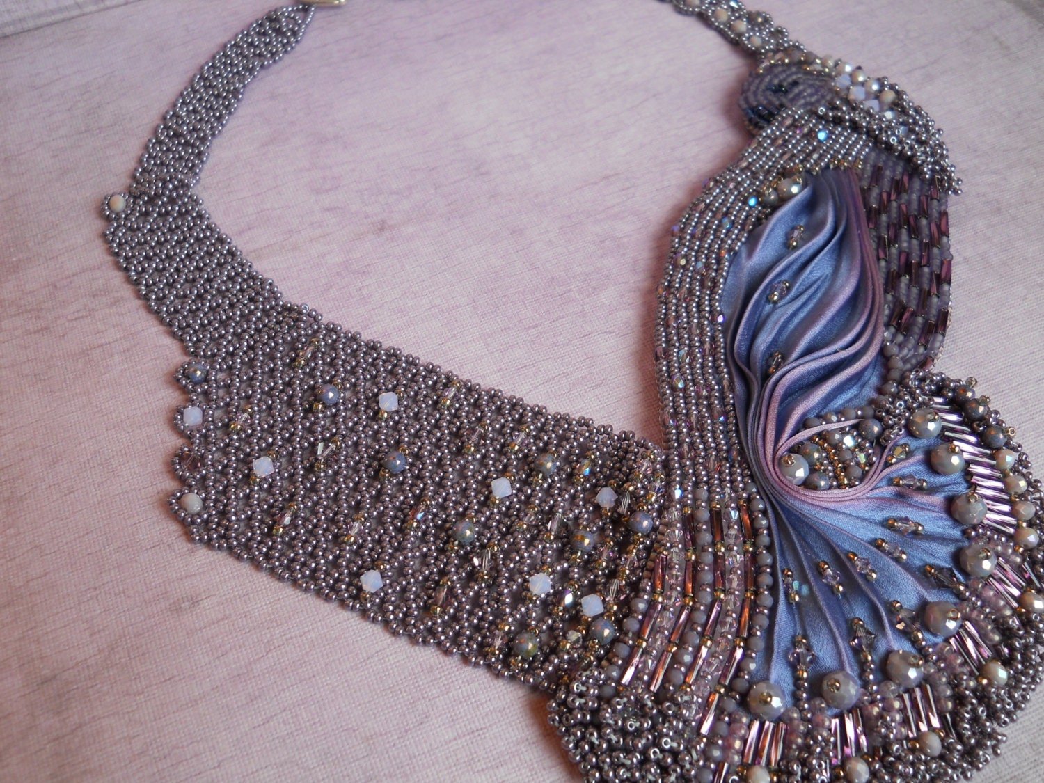 Shibori silk bead embroidery violet bird inspired necklace