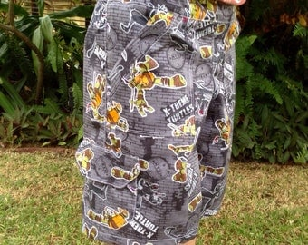Boys Teenage Mutant Ninja Turtles Multipocket Shorts, in action grey or comic faces on grey.