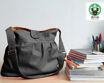 Sale 10% - Gray handbag, Diaper bag, Shoulder bag, tote, Messenger bag,Churros