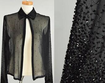"Vintage Sheer Black Beaded Open Duster Blouse /  S Small / Medium / 40"" Bust"
