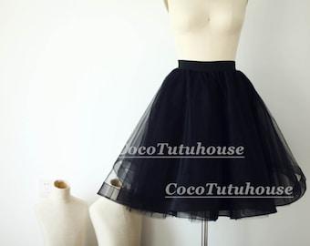 Black Tulle Skirt/Horse Hair Tulle Skirt/Women Tulle Skirt/Short TUTU Skirt/Wedding Dress Underskirt/Bridesmaid/Bachelorette TuTu
