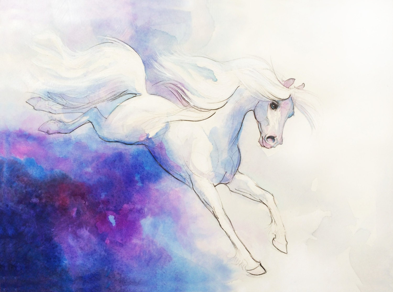 Watercolor White Horse Watercolor Horse Art Horse