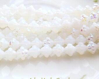 Czech Saturn Beads (25) White Opal AB Beads 8X9MM Opal White Ab Beads