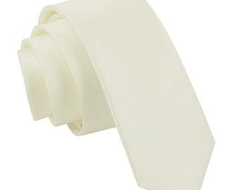 Satin Ivory Skinny Tie