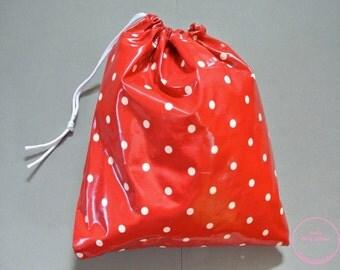 Red & white polka dot print childrens oilcloth bag