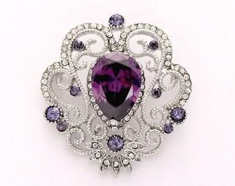 Rhinestone Purple Brooch, Purple Bridal Brooch, Purple Bouquet Brooches, Purple Dress Sash Brooch, Purple Vintage Wedding Bouquet Broaches