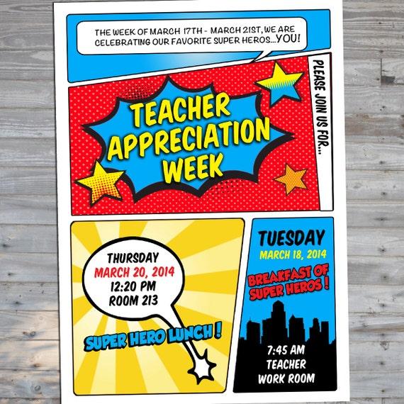 Items similar to Superhero Teacher Appreciation Invitation ...