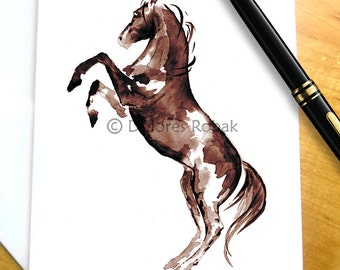 Wild Horse Stationary, Paint Horse Note Card Set, Pinto Wild Horse Notecards, Cowgirl Stationary, Mustang Card Set, Wild Horse Note Card Set