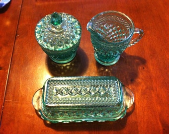 Vintage Aqura Green Butter /Cream & Sugar with lid Glass set