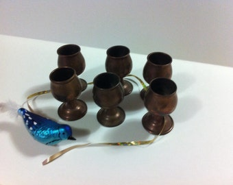 Vintage Miniture Copper Goblets (6)