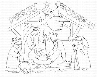 coloring pages of baby jesus in the stable | Popular items for jesus shepherd on Etsy
