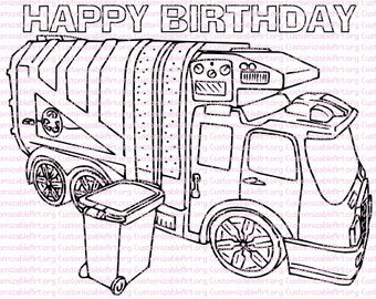 garbage truck birthday party printables garbage truck coloring page birthday party favors rubbish trash truck party
