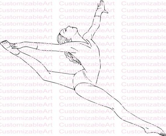 Gymnastics Digital Stamp Printable Gymnastic Digi Stamp