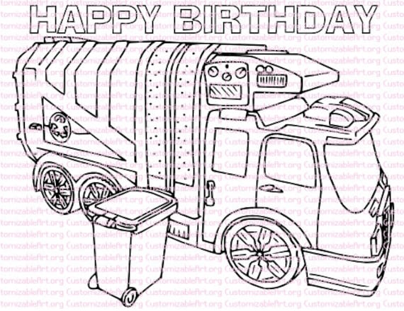 Garbage Truck Birthday Party Printables Coloring Page Favors Rubbish Trash Supplies Download PDF
