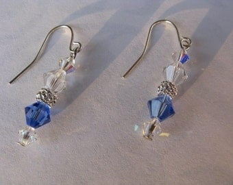 Blue and Silver Earrings, Swarovski Crystal earrings, Dangle Earrings.