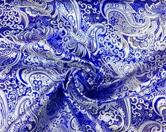 Royal Blue / Silver Metallic Paisley Brocade Fabric