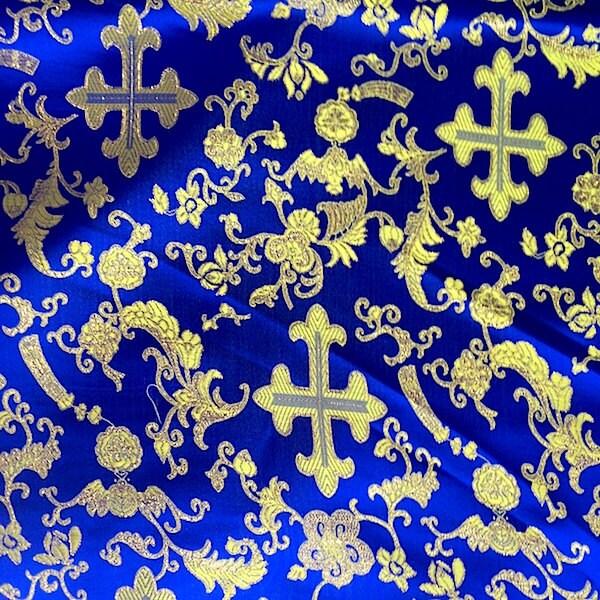Royal Blue Metallic Church Cross Brocade Fabric 60 Quot By The