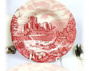 Vintage Soup/Salad Plate JOHNSON BROTHERS Old Castle Plates Red Dinnerware Johnson Bros England Ironstone Bowl