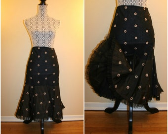 1950's Vintage Florell Black Petticoat with Pastel Pink Embroidered Flowers