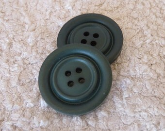 Set of 2 vintage big moss green four hole buttons