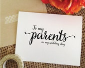 To my Parents on my wedding day Card thank you card for parents ( Lovely )