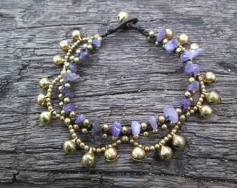 Amethysts Brass Bell Chain Bracelet,Lavender Simple Bracelet,Purple Bracelet,Amethysts Stone Jewelry,Amethysts Boho Bracelet,Gypsy Bracelet