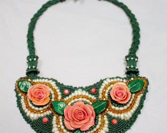 Polymer Clay Rose Bib Necklace