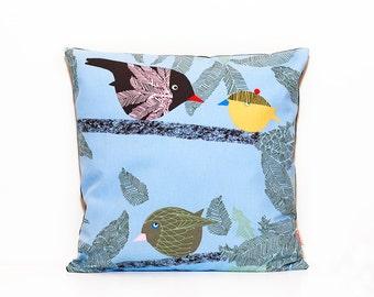 Bird pillow cover, Nursery decor, Kids pillow, Blue throw pillow, Toss cushion, Baby shower, Baby boy, Black canvas, Decor cushion, Zippered