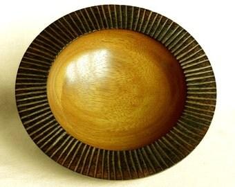 Iroko Carved Burnt Edge Bowl