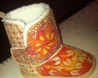 Custom hand-decorated Sherpa Lined Boots for Babies