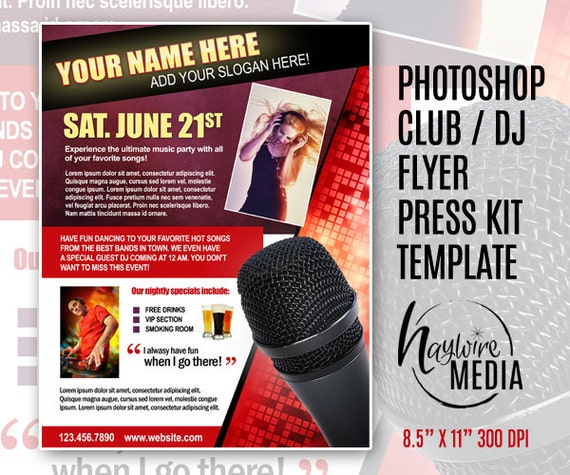 Items similar to entertainment party club or press kit for Dj press kit template free