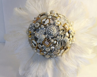 Brooch Button Jewelry Feather Wedding Bouquet