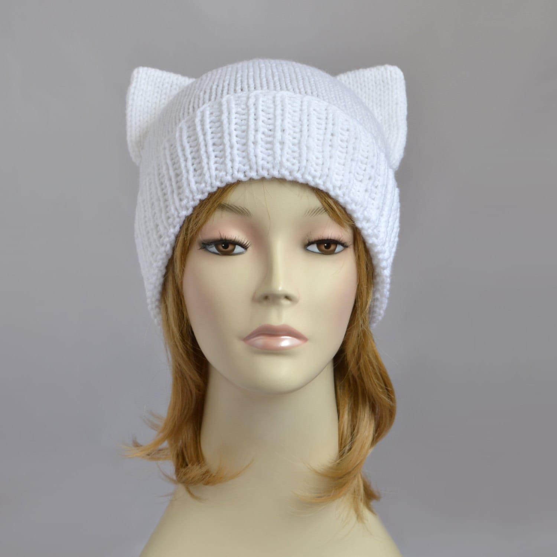 White Cat Hat Knit Cat Ear Hat or Cat Beanie Womens Cat Hat