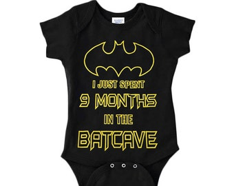 Batman Baby Boy  One Piece Bodysuit I Just Spent 9 Months In The Batcave Superhero Bat Costume With Lap Shoulder and Snap On Buttons