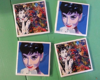 Audrey Hepburn art ceramic coasters set of 4